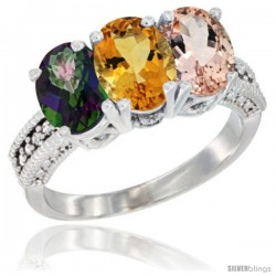 14K White Gold Natural Mystic Topaz, Citrine & Morganite Ring 3-Stone 7x5 mm Oval Diamond Accent
