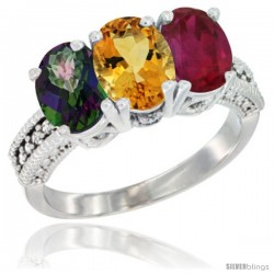 14K White Gold Natural Mystic Topaz, Citrine & Ruby Ring 3-Stone 7x5 mm Oval Diamond Accent