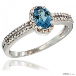 10K White Gold Natural London Blue Topaz Ring Oval 6x4 Stone Diamond Accent -Style Cw905178