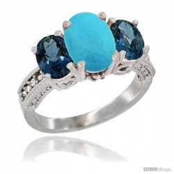 10K White Gold Ladies Natural Turquoise Oval 3 Stone Ring with London Blue Topaz Sides Diamond Accent