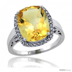 Sterling Silver Diamond Natural Citrine Ring 5.17 ct Checkerboard Cut Cushion 12x10 mm, 1/2 in wide