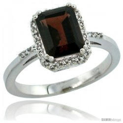 10k White Gold Diamond Garnet Ring 1.6 ct Emerald Shape 8x6 mm, 1/2 in wide -Style Cw910129
