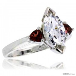 Sterling Silver 1.5 Carat Size Marquise Cut Cubic Zirconia Bridal Ring