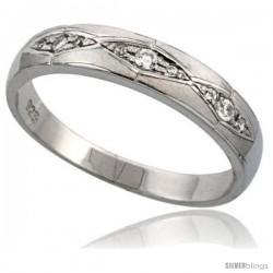 Sterling Silver Men's Wedding Ring CZ Stones Rhodium Finish, 3/16 in. 4.5 mm