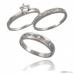 Sterling Silver 3-Piece His 4.5 mm & Hers 3 mm Trio Wedding Ring Set CZ Stones Rhodium Finish