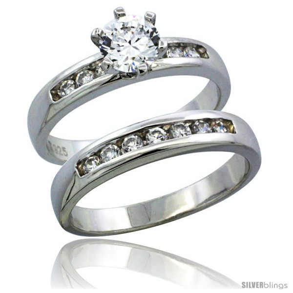 Heart CZ My Love Wedding Ring and Engagement Ring For Couples Women Size 7 /& Men Size 9 Bishilin Stainless Steel Princess Cut Square