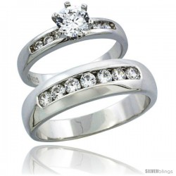 Sterling Silver Cubic Zirconia Engagement Rings Set for Him & Her Classic Channel Set 6mm Man's Wedding Band )
