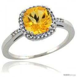Sterling Silver Diamond Natural Citrine Ring 1.5 ct Checkerboard Cut Cushion Shape 7 mm, 3/8 in wide