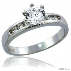 Sterling Silver Cubic Zirconia Solitaire Engagement Ring 1 ct size Brilliant cut, 1/8 in wide