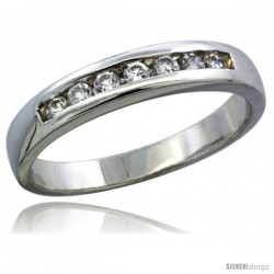 Sterling Silver Cubic Zirconia Ladies' Wedding Band Ring Classic Channel Set, 1/8 in wide