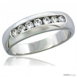 Sterling Silver Cubic Zirconia Mens Wedding Band Ring Classic Channel Set, 1/4 in wide