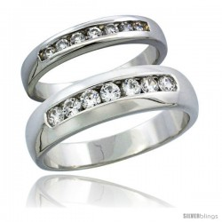 Sterling Silver Cubic Zirconia Wedding Band Ring 2-Piece Set 6 mm Him & Hers 3.5 mm Classic Channel Set