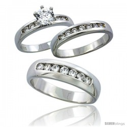 Sterling Silver Cubic Zirconia Trio Engagement Wedding Ring Set for Him & Her 6 mm Classic Channel Set, L 5 - 10 & M 8 - 14