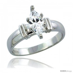 Sterling Silver Cubic Zirconia Solitaire Engagement Ring 3/4 ct Marquise, 3/16 in wide