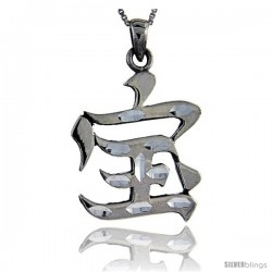 Sterling Silver Chinese Character for WEALTH Pendant, 1 1/4 in tall