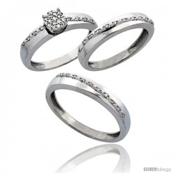 14k White Gold 3-Piece Trio His (3.5mm) & Hers (3.5mm) Diamond Wedding Band Set, w/ 0.30 Carat Brilliant Cut Diamonds