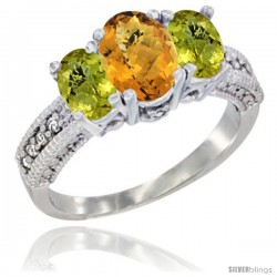 14k White Gold Ladies Oval Natural Whisky Quartz 3-Stone Ring with Lemon Quartz Sides Diamond Accent