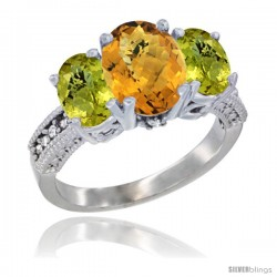 14K White Gold Ladies 3-Stone Oval Natural Whisky Quartz Ring with Lemon Quartz Sides Diamond Accent