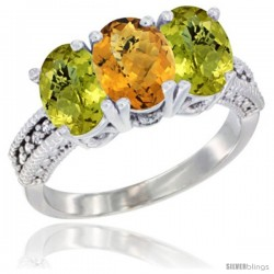 14K White Gold Natural Whisky Quartz Ring with Lemon Quartz 3-Stone 7x5 mm Oval Diamond Accent