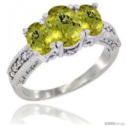 14k White Gold Ladies Oval Natural Lemon Quartz 3-Stone Ring Diamond Accent