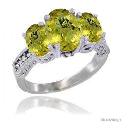 14K White Gold Ladies 3-Stone Oval Natural Lemon Quartz Ring Diamond Accent