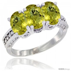14K White Gold Natural Lemon Quartz Ring 3-Stone 7x5 mm Oval Diamond Accent
