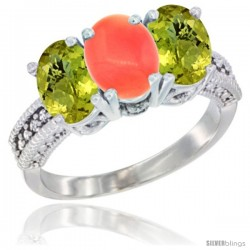 14K White Gold Natural Coral Ring with Lemon Quartz 3-Stone 7x5 mm Oval Diamond Accent