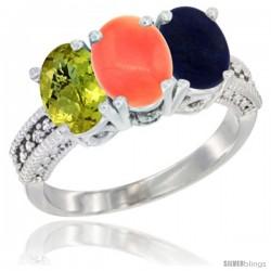 14K White Gold Natural Lemon Quartz, Coral Ring with Lapis Ring 3-Stone 7x5 mm Oval Diamond Accent