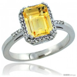 Sterling Silver Diamond Natural Citrine Ring 1.6 ct Emerald Shape 8x6 mm, 1/2 in wide -Style Cwg09129