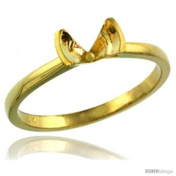 14k Gold Semi Mount (for 5mm Round Diamond) Engagement Ring 1/16 in. (2mm) wide -Style D323831y