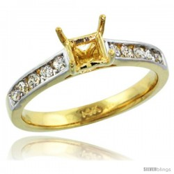 14k Gold Semi Mount (for 5mm 0.75 Carat Size Princess Cut) Diamond Ring w/ 0.30 Carat Brilliant Cut ( H-I Color SI1 Clarity )