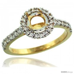 14k Gold Semi Mount (for 6mm 1 Carat Size Round Diamond) Engagement Ring w/ 0.34 Carat Brilliant Cut Diamonds, 3/8 in. (10mm)