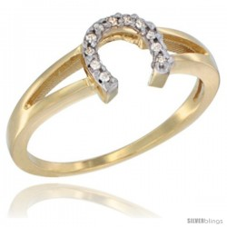 14K Yellow Gold Ladies Diamond Horseshoe Ring, 0.06 cttw, 1/4 in wide