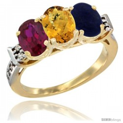 10K Yellow Gold Natural Ruby, Whisky Quartz & Lapis Ring 3-Stone Oval 7x5 mm Diamond Accent