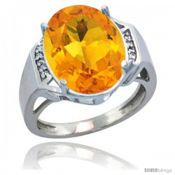 Sterling Silver Diamond Natural Citrine Ring 9.7 ct Large Oval Stone 16x12 mm, 5/8 in wide
