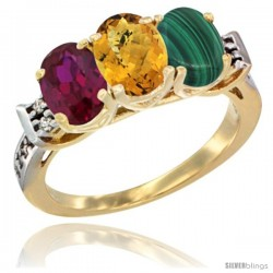 10K Yellow Gold Natural Ruby, Whisky Quartz & Malachite Ring 3-Stone Oval 7x5 mm Diamond Accent