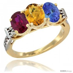 10K Yellow Gold Natural Ruby, Whisky Quartz & Tanzanite Ring 3-Stone Oval 7x5 mm Diamond Accent