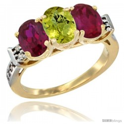 10K Yellow Gold Natural Lemon Quartz & Ruby Sides Ring 3-Stone Oval 7x5 mm Diamond Accent