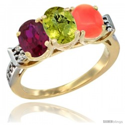 10K Yellow Gold Natural Ruby, Lemon Quartz & Coral Ring 3-Stone Oval 7x5 mm Diamond Accent