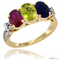 10K Yellow Gold Natural Ruby, Lemon Quartz & Lapis Ring 3-Stone Oval 7x5 mm Diamond Accent