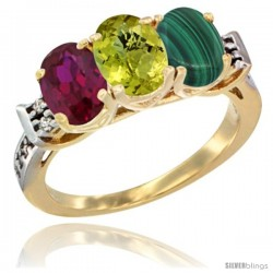 10K Yellow Gold Natural Ruby, Lemon Quartz & Malachite Ring 3-Stone Oval 7x5 mm Diamond Accent