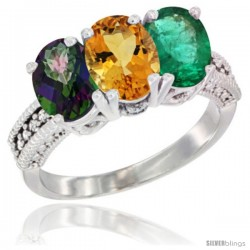 14K White Gold Natural Mystic Topaz, Citrine & Emerald Ring 3-Stone 7x5 mm Oval Diamond Accent