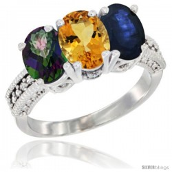 14K White Gold Natural Mystic Topaz, Citrine & Blue Sapphire Ring 3-Stone 7x5 mm Oval Diamond Accent