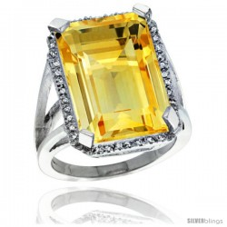 Sterling Silver Diamond Natural Citrine Ring 14.96 ct Emerald Shape 18x13 mm Stone, 13/16 in wide