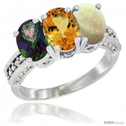 14K White Gold Natural Mystic Topaz, Citrine & Opal Ring 3-Stone 7x5 mm Oval Diamond Accent