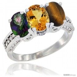 14K White Gold Natural Mystic Topaz, Citrine & Tiger Eye Ring 3-Stone 7x5 mm Oval Diamond Accent