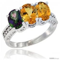 14K White Gold Natural Mystic Topaz, Citrine & Whisky Quartz Ring 3-Stone 7x5 mm Oval Diamond Accent
