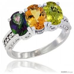 14K White Gold Natural Mystic Topaz, Citrine & Lemon Quartz Ring 3-Stone 7x5 mm Oval Diamond Accent