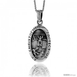 Sterling Silver Saint Christopher Pendant for Soccer, 1 3/8 in tall