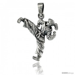 Sterling Silver Martial Arts Karate Pendant, 1 1/16 in tall
